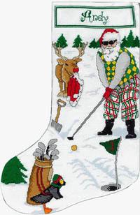 Golfing Santa Stocking