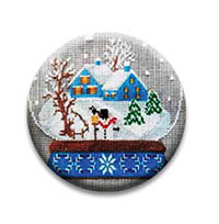 Snow Globe Blue Houses Needle Nanny from Twin Peak Primitives