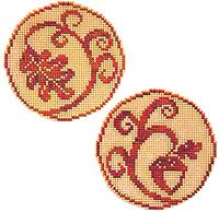 Circle Ornaments - Elegant Oak Leaf and Acorn