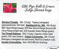 ABC Pyn Roll & Crown Tulip Thread Keep Embellishment Pack