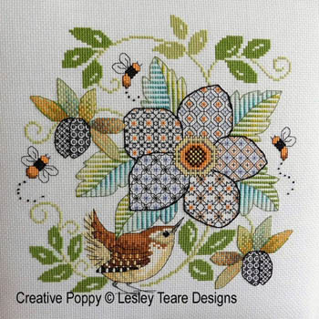 Blackwork Flower With Wren