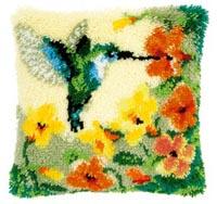 Hummingbird and Flowers Pillow