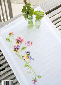 Little Bird & Pansies Runner Kit