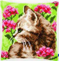 Cat in Field of Flowers Cushion Kit
