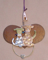 Thread Separator - Rustic Heart with Puppies